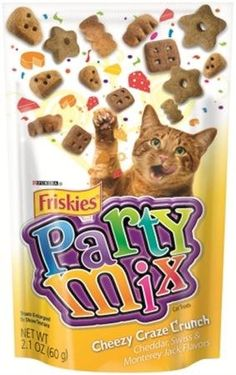 Friskies Party Mix Cheddar, Swiss and Monterey Jack Flavor Cheesy Craze Crunch Cat Treats 10 - 2.1oz Packs *** For more information, visit image link. (This is an affiliate link and I receive a commission for the sales)