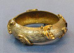 MIMI D N Dark Silver Color and Gold Tone Metal Baroque Leaf Bangle Bracelet
