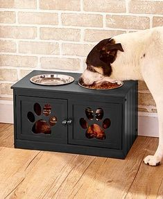 The Elevated Pet Bowls with Storage is a furniture-like piece that will please any dog owner. levated pet bowls. It provides a healthy raised feeding station