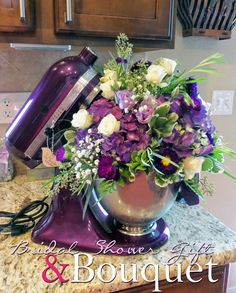 KitchenAid stand mixer gift idea for a bride-to-be with a bouquet in the mixing bowl.  From Alice Scraps Wonderland: A Vintage Tea Party Bridal Shower