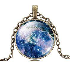 Jiayiqi Mujeres Moda Galaxia Tiempo Cósmico Joya Colgante Bronce Declaración Cadena Collar Regalo De Navidad