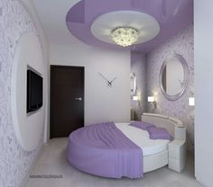 Fall Ceiling Designs Bedroom, Bedroom False Ceiling Design, Bedroom Cupboard Designs, Bedroom Bed Design, Bedroom Decor, Interior Exterior, Interior Design, Round Beds, Dream Rooms