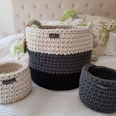 Custom order finished. #nordico #crochet #crochetbasket #handmade #madeinmelbourne #homewaresmelbourne #madebyme Crochet Geek, Crochet Patterns Amigurumi, Crochet Stitches, Crochet Baby, Knit Crochet, Knit Basket, Rope Basket, Crochet Decoration, Crochet Home Decor
