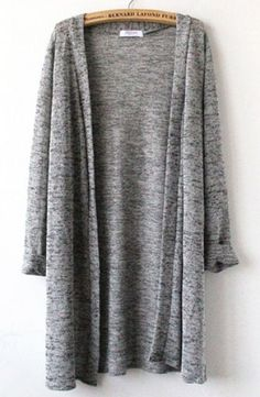 Grey Three Quarter Sleeve Cardigan pictures