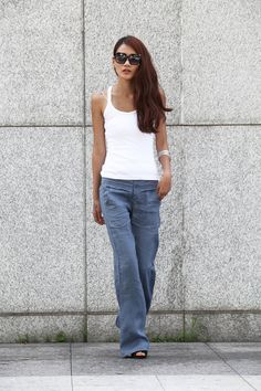 On Sale M Elegance Casual Splicing Edging Straight Low-waist Pants in Grey Blue - NC401-3