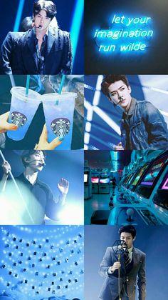 44 Ideas wall paper lock screen blue for 2019 Aesthetic Collage, Blue Aesthetic, Kpop Aesthetic, Sehun, Z Wallpaper, Pink Wallpaper Iphone, Exo Stickers, Exo Lockscreen, Hunhan