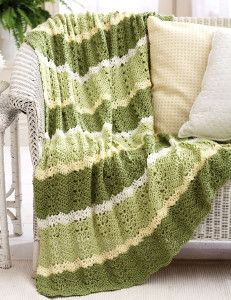 Journey to greener pastures with this crochet blanket pattern. The Green Meadows throw will rejuvenate whatever room it's in! If you're in need of some easy crochet patterns, then you're in luck. It only takes a few simple steps and stitches to complete this lovely crochet blanket pattern.