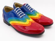Rainbow Wingtip Dress Shoe  Men's Size 5 to 11 Women's by semifold, $119.00 Not at all for my man, but I can imagine some men in them!