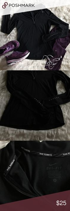 Nike Dri Fit 1/4 Zip Running Top EUC! Super stretchy and soft. Perfect for cold weather runs. Sweat wicking material. Reflective detailing. Collar at the top. Bundle and save!   Nike Tops