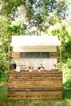 Rustic biscuit buffet stand, honey, southern wedding party idea http://www.blueskyatlanta.com