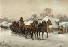 Władysław Chmieliński - Sanie jadące przez wieś