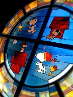 I love it when my favorite things align, like stained glass and Snoopy.