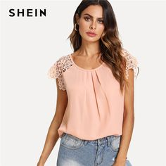 Price $13.50 Like and Share if you want this SHEIN Floral Lace Cap Sleeve Pleated Top Pink Scoop Neck Short Sleeve Women Plain Blouse 2018 Summer Weekend Casual Blouse     Tag a friend who would love this!       Get it here ---> https://www.fashiondare.com/shein-floral-lace-cap-sleeve-pleated-top-pink-scoop-neck-short-sleeve-women-plain-blouse-2018-summer-weekend-casual-blouse/
