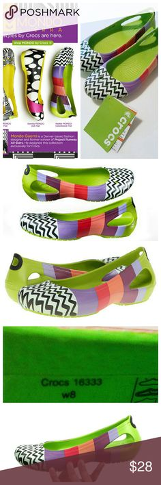 NWT! CROCS ~ Kadee Mondo Colorblock Flats Project Runway Mondo Guerra Designer Line for Crocs Croslite upper with feminine details and stylish windows on the heels for added style. Slip-on construction with Croslite lining that is form-fitting for a snug, comfortable fit. The Croslite material footbed serves a dual function to relieve pressure on feet, legs and back while increasing blood flow through its use of circulation nubs. Slip-resistant and non-marking outsole delivers sure footing…