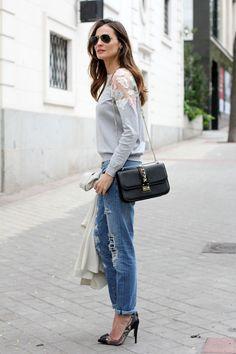 Women's casual street style :: Stone grey blazer