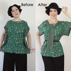 IG Thrift to vintage refashion - blouse - Evelyn Wood Diy Fashion, Retro Fashion, Vintage Fashion, Blouse Refashion, Thrift Store Outfits, Make Your Own Clothes, Altering Clothes, Costume Shop, Diy Clothing