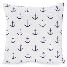 White cushion with navy blue anchors. Style Nautique, Striped Cushions, Navy And White, Navy Blue, Nautical Fashion, Pink Flamingos, Nautical Theme, Wall Plaques, Coral Pink