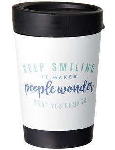 "Cuppacoffeecup Travel Coffee Mug, ""Keep Smiling"", 335ml product photo"