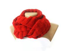 Infinity Scarf, women knitted scarves, Red, Circle Scarf, Neck Warmer red Crochet Infinity scarf, for her