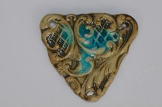 Ceramic Pendant Handmade Stoneware Clay  triangle by potterygirl1,