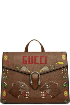 6168b1a165e197 Brown Hand-Painted Dionysus Briefcase Buy Gucci, Gucci Black, Dionysus,  Briefcase,