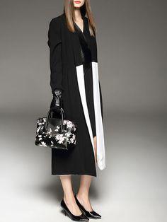 Elegant Color-block Trench coat