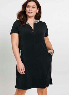 7 And 7, Knit Dress, Ideias Fashion, Short Sleeve Dresses, T Shirt, Black, Products, Plus Size Girls, Business Professional Dress