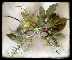 How sweet... and it would be easy to make...  Green Man Halloween SCA Fair Nature Sprite Mask by CedarfoxStudios, $225.00