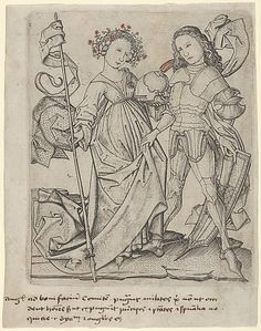 The Knight and the Lady Master ES (German, active ca. 1450–67) Date: 15th century Medium: Engraving