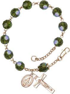 14 Karat Gold Rosary Bracelet features 8mm Olive Swarovski, Capped Our Father…
