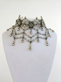 SALE - Crystal Spider Web - Breathtaking EXCLUSIVE Signature bib necklace set in duck egg blue and cream Signed and OOAK