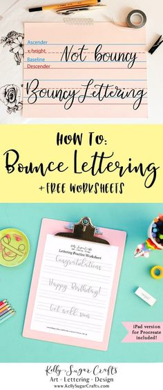 Free Bounce Lettering Practice Worksheets Printable + Procreate | Brush lettering, iPad lettering | Kelly Sugar Crafts #letteringworksheets #handlettering #brushlettering #ipadlettering #lettering