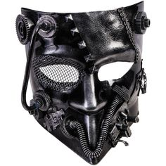 Dark silver half mask with attached gears and other hardware has one eye covered with a net. Intricately detailed decoration, perfect addition to your Steampunk look! Box Dimensions (in Inches) Length