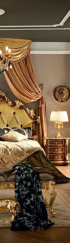 opulent bedroom.  custom and limited edition bedding/ draperies. DesignNashville.com shipping world wide