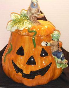 Pumpkin with owl and ghoul cookie jar by by KoolCookieJarsNMore