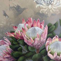 Watercolours, Watercolor Paintings, Protea Plant, Contemporary Artists, Home Art, Cottages, Flower Art, Decoupage, Art Projects