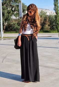 Black maxi skirt, white tank and print accessories