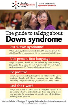Time to spread the word. Too many people are ignorant when talking about people with Down Syndrome.The Guide to Talking about Down Syndrome Down Syndrome And Autism, Down Syndrome Awareness Month, Down Syndrome Baby, Down Syndrome People, Down Syndrome Facts, R Words, Developmental Disabilities, Disability Awareness, First Language