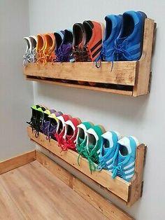 Wall Mounted Shoe Storage, Wall Shoe Rack, Shoe Rack Closet, Wooden Shoe Racks, Shoe Wall, Diy Shoe Storage, Diy Shoe Rack, Wall Storage, Storage Spaces