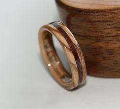 Brian's 5mm wide Bethlehem Olive wood ring with Walnut Inlay.