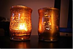 """I read a few blog posts on how to make your own faux mercury glass vases/candle holders, and thought it'd be perfect for a """"girl gift"""" for o..."""