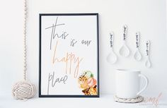 Kitchen Watercolor Our Happy Place Printable by CMFprintdesigns