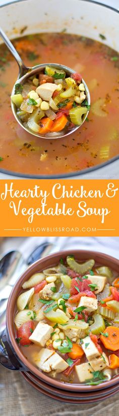 Chicken Soup Hearty Chicken and Vegetable Soup with NoodlesHearty Chicken and Vegetable Soup with Noodles Vegetable Noodle Soup, Vegetable Soup With Chicken, Chicken And Vegetables, Hearty Chicken Soup, Chicken Soups, Diced Chicken, Cooking Recipes, Healthy Recipes, Crockpot Recipes