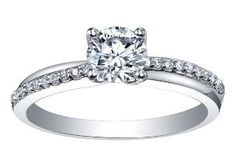Platinum Collection ~  Platinum engagement ring  set with 0.70ct round brilliant cut Maple Leaf Diamonds Canadian center diamond. Also available with 0.30ct Canadian center diamond.  PC221