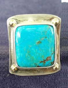 Handmade 9 CT. Morenci Turquoise and Sterling Silver Ring with 14K Gold Accents                       artisanandspirited