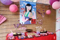 Beautiful Mulan party ideas! From decorations to invitations complete with Chinese translations of guest's names.