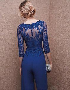 Formal Long Royal Blue Chiffon Lace Evening Jumpsuit With Sleeves Jumpsuit With Sleeves, Jumpsuit Dress, Bride Suit, Bride Groom, Style Haute Couture, Chiffon, Blue Cocktail Dress, Evening Dresses, Formal Dresses