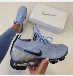 Shop Wmns Air VaporMax Flyknit 2 'Aluminum' - Nike on GOAT. We guarantee authenticity on every sneaker purchase or your money back. Moda Sneakers, Cute Sneakers, Shoes Sneakers, Winter Sneakers, Boy Shoes, Girls Sneakers, Sneaker Heels, Converse Sneakers, Pink Shoes