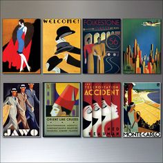 Art Deco Vintage Posters  set of 8 retro by BvdBDesign on Etsy