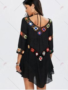 Floral Crochet Flounce Tunic Cover-Up - BLACK ONE SIZE Mobile